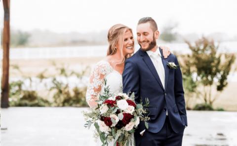 Groom and bride outdoor wedding photography
